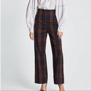 Zara | Wide Leg Cuffed Check Plaid Trouser